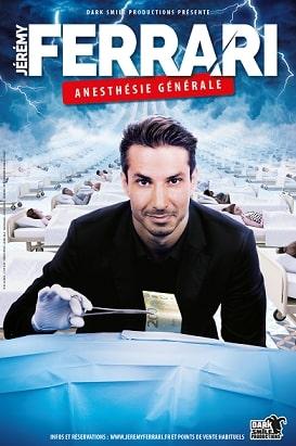 Affiche Jeremy Ferrari Anesthésie Générale humour noir spectacle Zénith de Dijon
